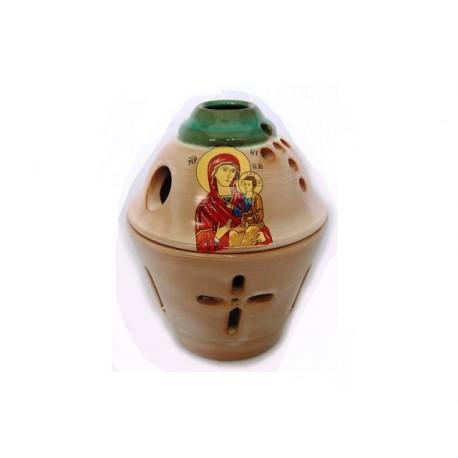 Glossy Ceramic Vigil Oil Lamp Pot-shaped