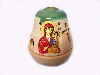 "Glossy Ceramic Vigil Oil Lamp ""Bell"""