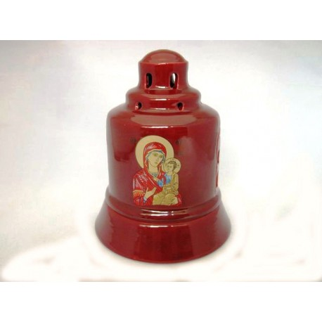 Glossy Ceramic Vigil Oil Lamp Church-shaped