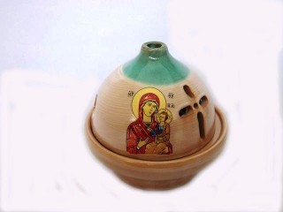 "Glossy Ceramic Vigil Oil Lamp ""Dome"""