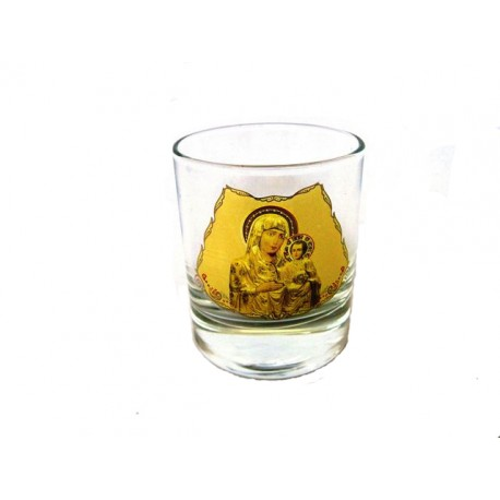 Glass Votive Cup with Gold Leaf Printing