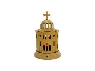 Big Metallic Vigil Oil Lamp Church-shaped